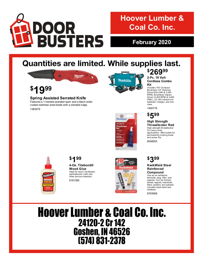 Hoover Lumber Door Buster Specials
